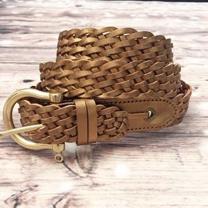 Sperry Metallic Bronze Braided Leather Belt - XL